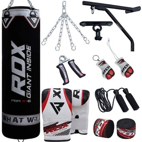 RDX punching bag with extras (gloves, wall brackets, straps, chains and more)