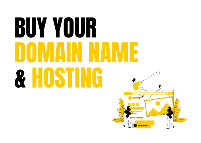 Buy Your Domain Name and Hosting - Image of people constructing a website.