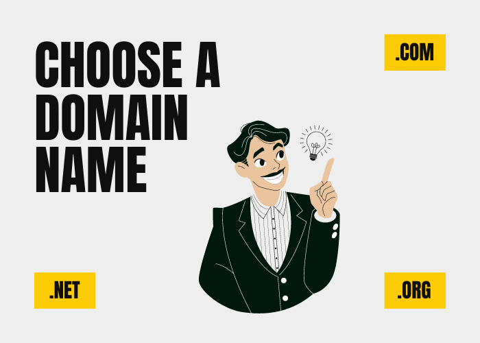 Choose a domain name image - a man pointing at different top-level domains (TLDs).