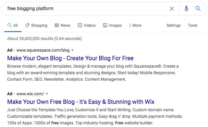 Free blogging platforms search.