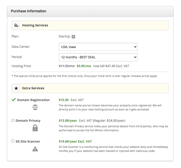 SiteGround purchase and billing information page.