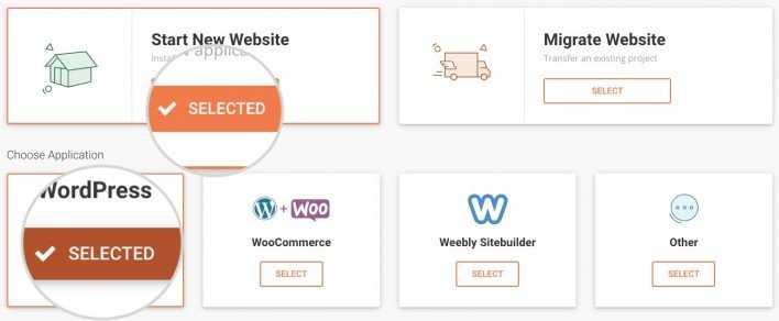 Select 'start new website' and select WordPress as the application.