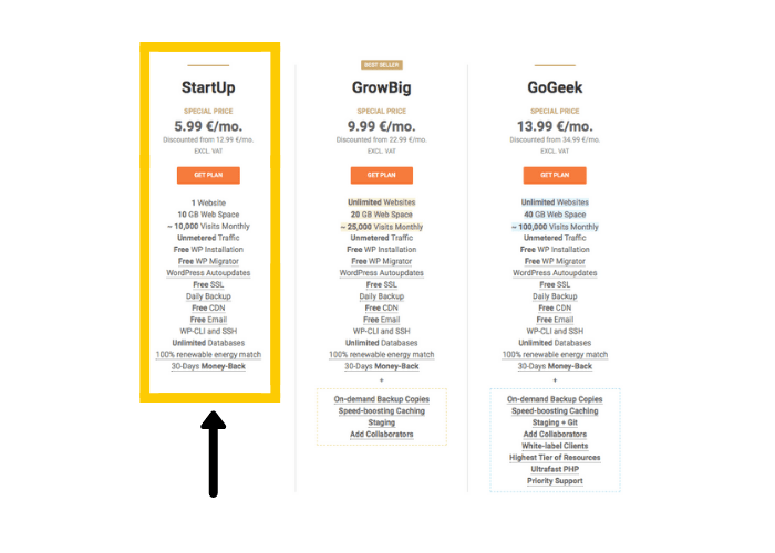 Select your hosting plan.