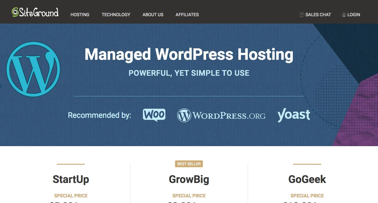 Managed WordPress hosting with SiteGround.