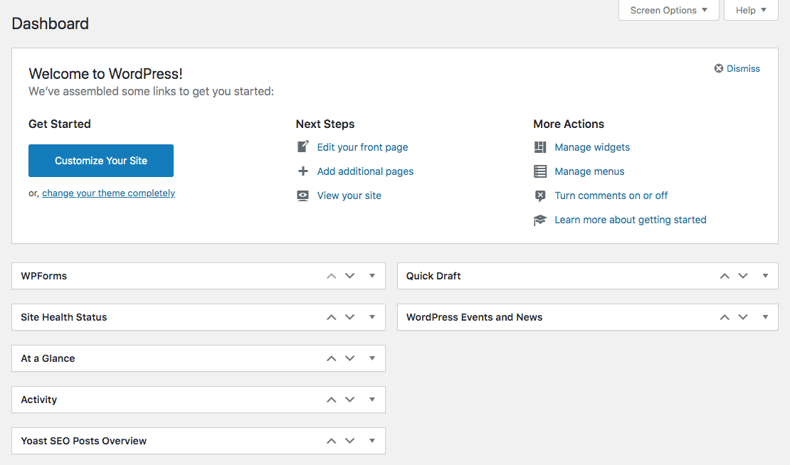 Screenshot of WordPress dashboard.