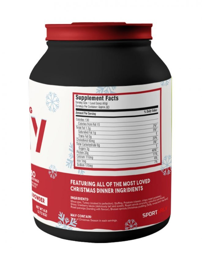 Christmas dinner flavoured protein powder back of the bottle.